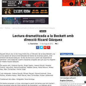 Miriam Marcet, lectura dramatizada en la sala Beckett.