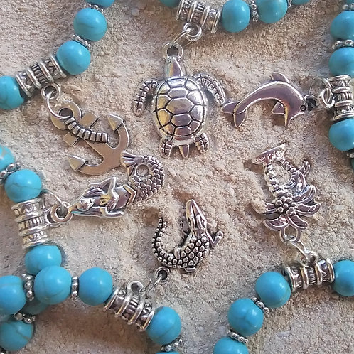 WHSL Turquoise Marble Charm Beach Bracelet LOT of 12