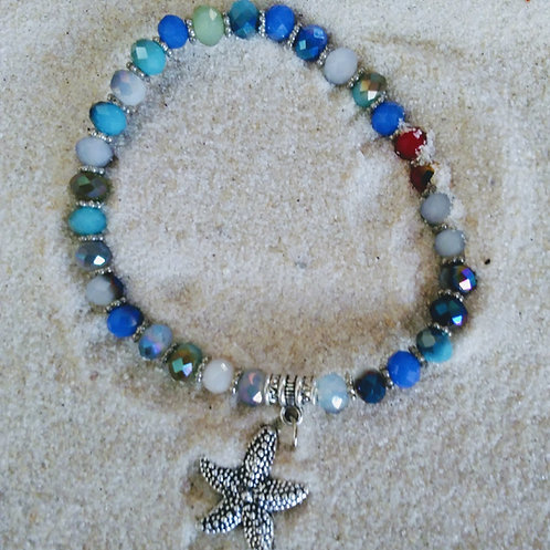 Glitzy Rainbow Cubic Style Starfish Bracelet