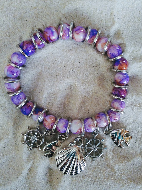 Purple/Pink Marble Beads Sea Charms Bracelet