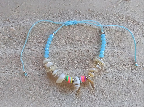 WHSL Shell & Stone Pull-Tie beach anklet LOT of 12