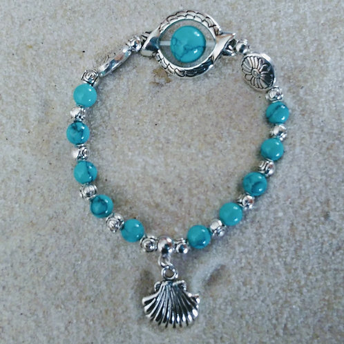 Turquoise Marble Beaded Seashell Bracelet