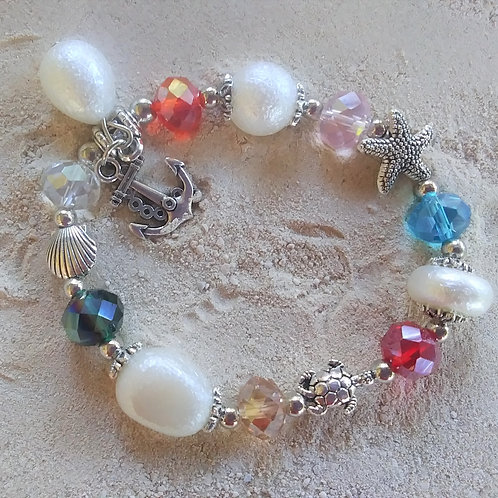 WHSL Feaux pearl Cubic Zicronia Charm Beach Bracelet LOT of 12