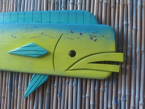 Howard the Mahi Mahi Large Fish Handmade Wood Wall Art