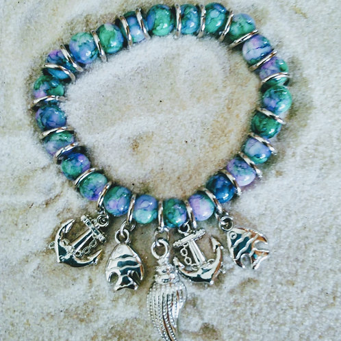 Blue/Green Marble Beads Sea Charms Bracelet