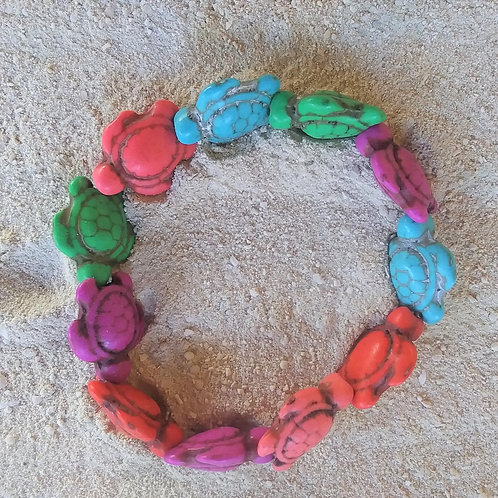 WHSL Rainbow Etched Turtle Beach Bracelet LOT of 12
