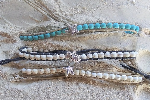 WHSL Turquoise, Ivory Turtle Starfish Pull Tie Beach Bracelet LOT of 12