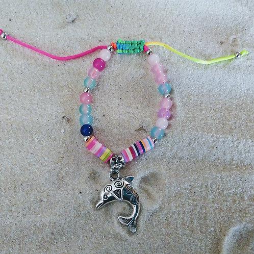 Rainbow Beaded Pull-tie Dolphin Bracelet