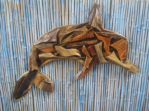 WHSL Unique Recycled Wood Dolphin