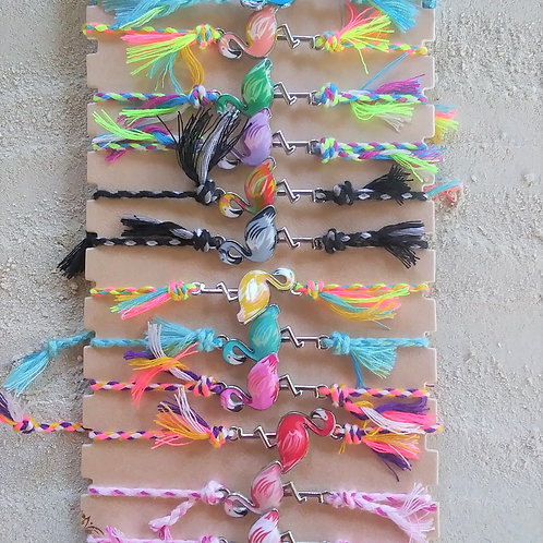 WHSL Rainbow colored braided Flamingo beach bracelet LOT of 12