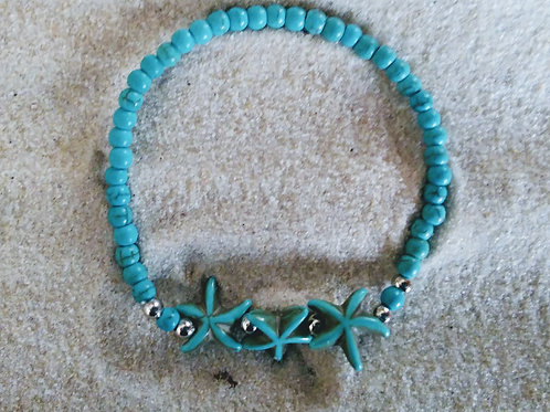 Turquoise Starfish Beaded Bracelet