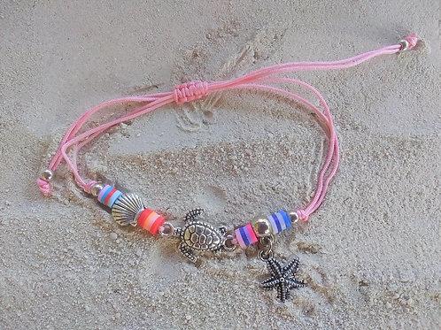 WHSL Sea Life Turtle Starfish Shell Pull-Tie beach bracelet LOT of 12