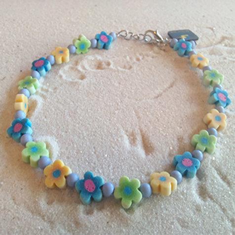 Flower rubber bead anklet/bracelet