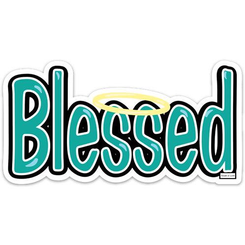 Blessed Die-Cut Halo Vinyl Bumper Sticker Florida Artist Made in U.S.A.