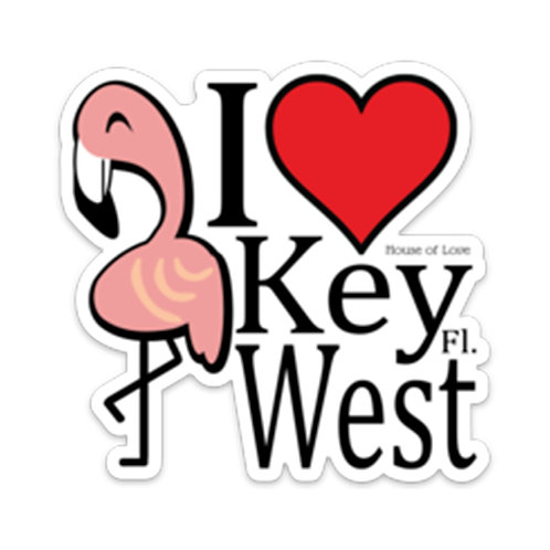 I Love Key West Flamingo Vinyl Bumper Sticker