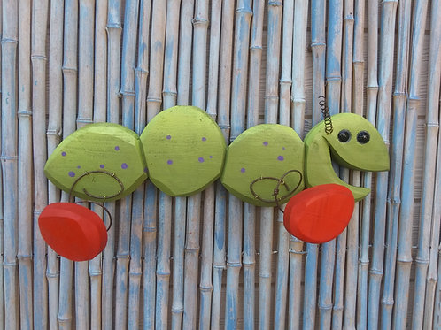 Carrie the Caterpillar Handmade in Florida Wood Wall Art Spring Action