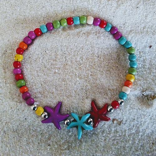 Beachy Rainbow Beaded Starfish Bracelet