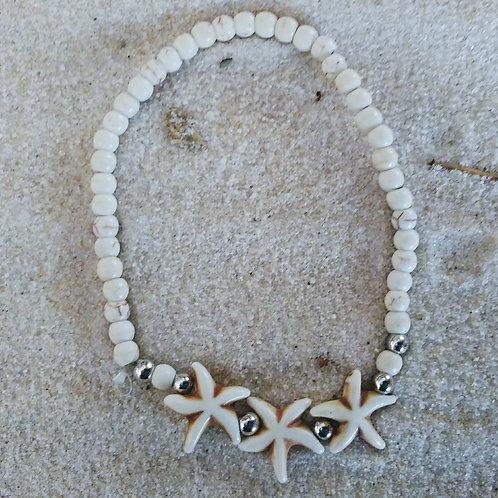 Beachy Ivory Beaded Starfish Bracelet