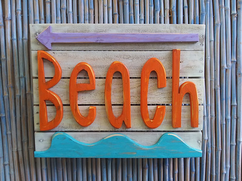 WHSL Beach Handmade in Florida Beach Sign Wall Art
