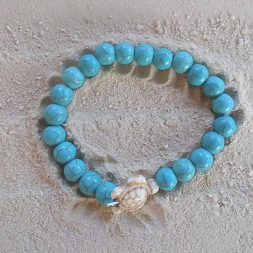 WHSL Turqoise Marble Bead Ivory Turtle Beach Bracelet LOT of 12