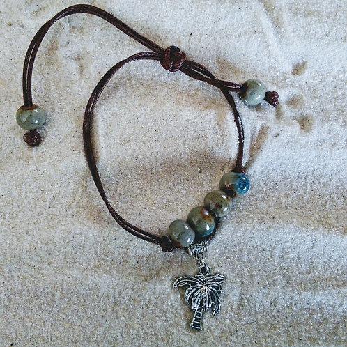 Palm Tree Pull Tie Cord Beaded Bracelet