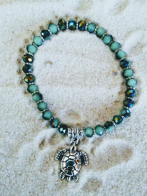 Glitzy Green Cubic Style Turtle Bracelet