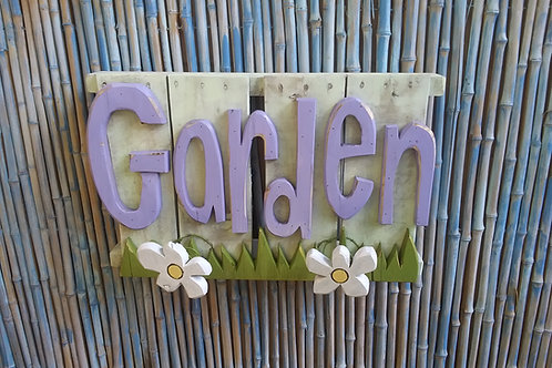WHSL Handmade in Florida Wood Garden Wall Art Sign Spring Action Flowers