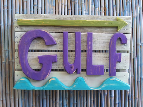 WHSL Gulf Handmade in Florida Beach Sign Wall Art