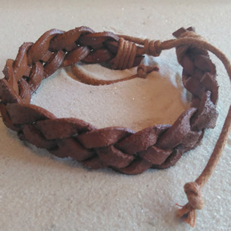 Leather braided natural tie bracelet