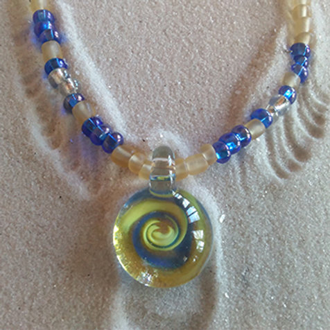 Swirl blown glass hippy necklace