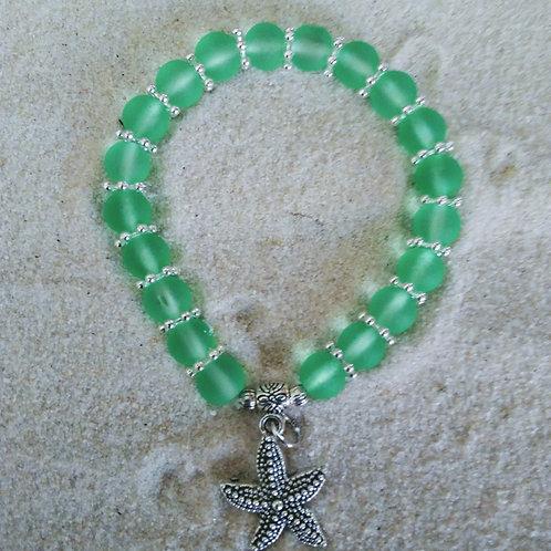 Beaded Green Sea Glass Style Starfish Bracelet