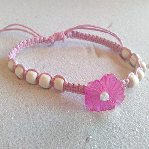 Kids pink flower adjustable tie bracelet