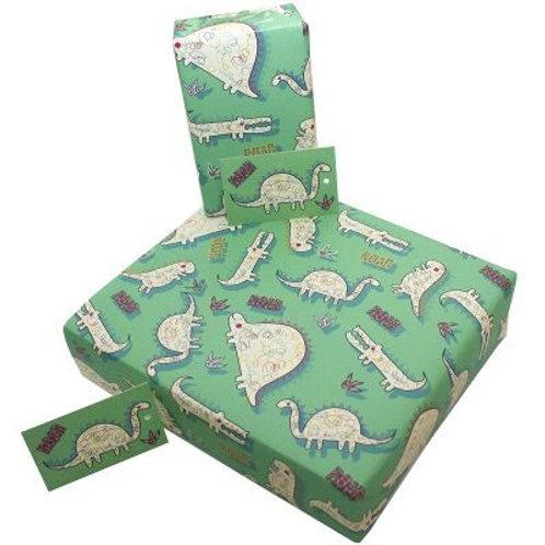 Eco-friendly dinosaur gift wrap Single sheet
