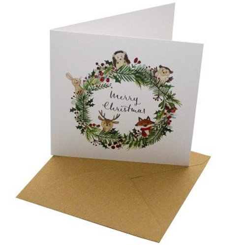 Merry Christmas woodland animals card blank