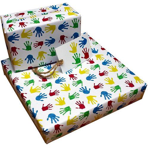 Eco-friendly handprint giftwrap single sheet