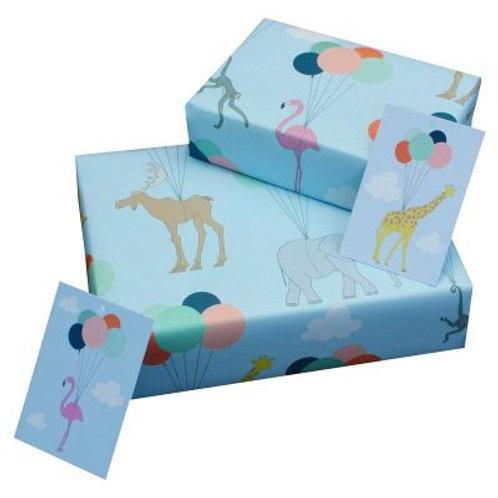 Balloon & animals gift wrap single sheet