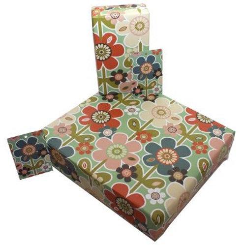 Retro flower gift wrap