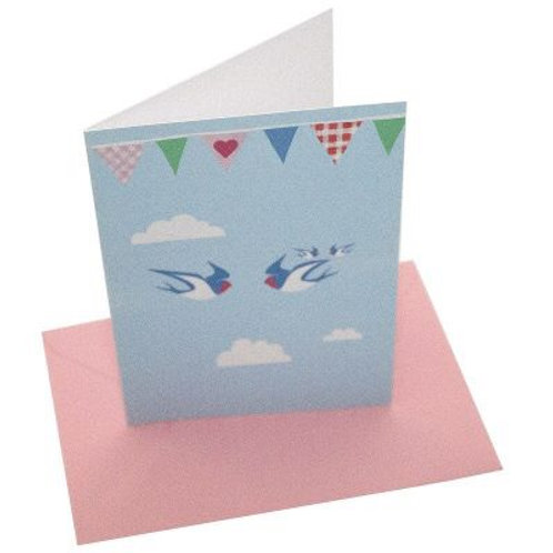 Blue Bird Bunting Blank Card