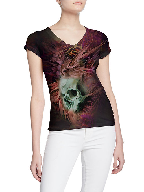 Winged Skull and Pierced Tattoo Design Women T-shirt