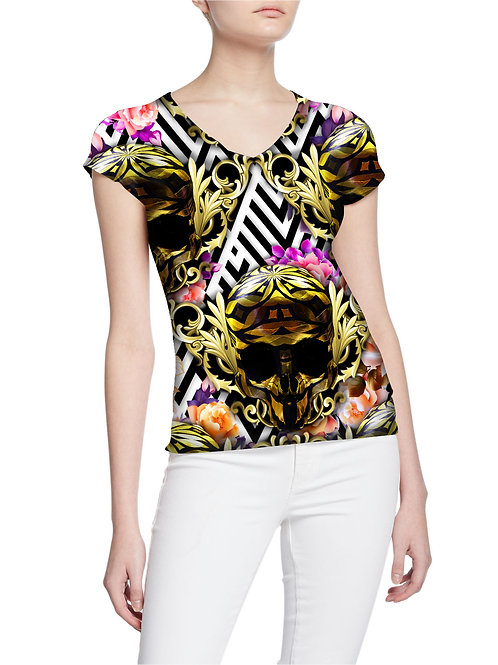 Gorgeous Exclusive Royalty Roses and Skulls Collectors Women T-shirt