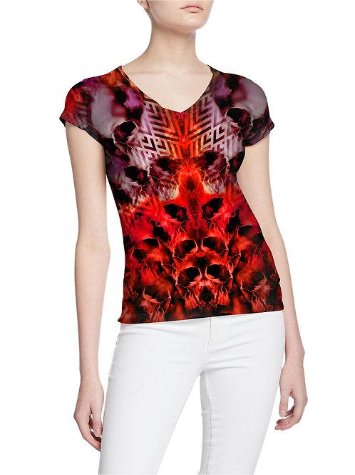 Skulls Blood Red Tattoo Design Pattern Women T-shirt
