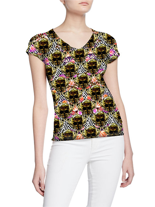 Gorgeous Exclusive Royalty Roses and Skulls Series Women T-shirt