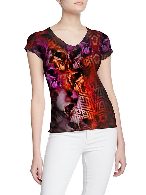 Tormented Skulls and Rhombuses Pattern  Women T-shirt