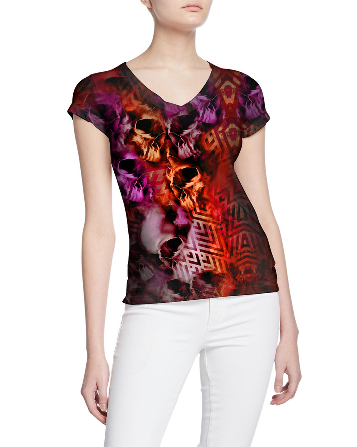 Ladies-V-Tshirt-Tormented-Skulls-and-Rum