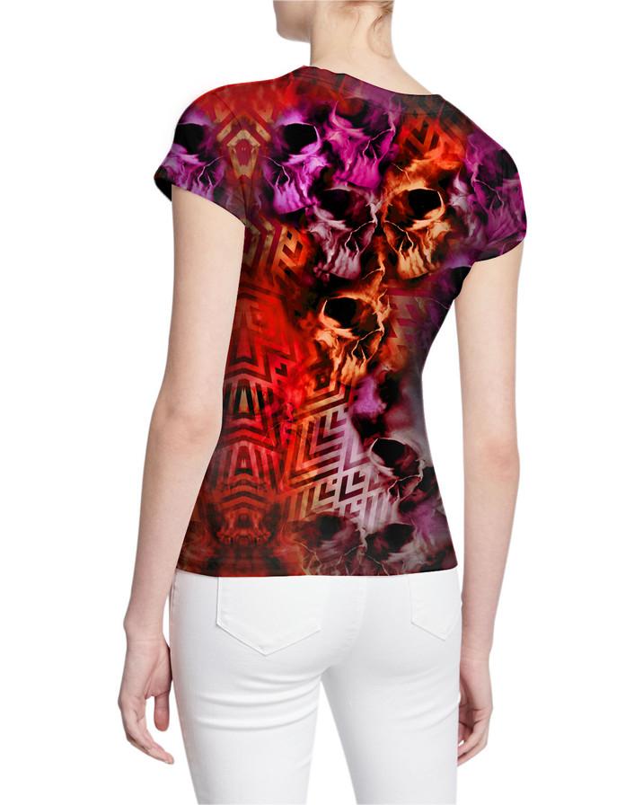 Ladies-V-Tshirt-Tormented-Skulls-and-Rho