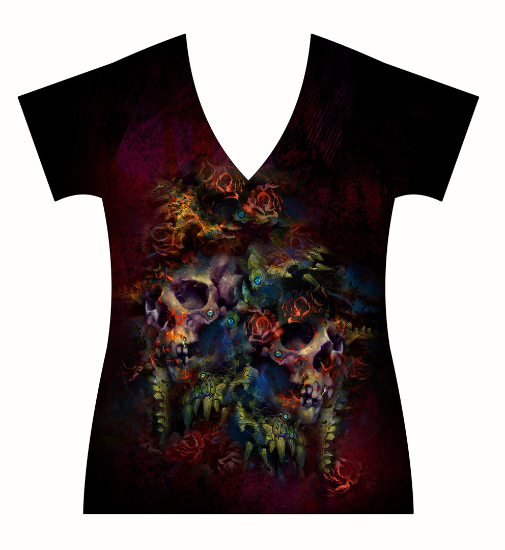 STORE-Ladies-V-neck-Demon-Skulls-and-Col