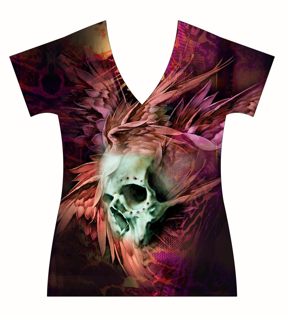 STORE-Ladies-V-neck-Winged-Skull-Tattoo-