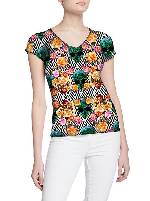 Platinum Exclusive Skulls and Roses Original Pattern Women T-shirt