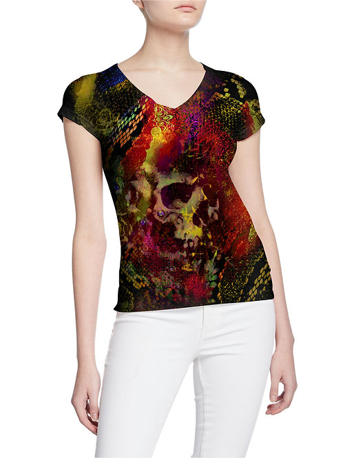 Exotic Animal Print Pattern and Ghost Skull Women T-shirt