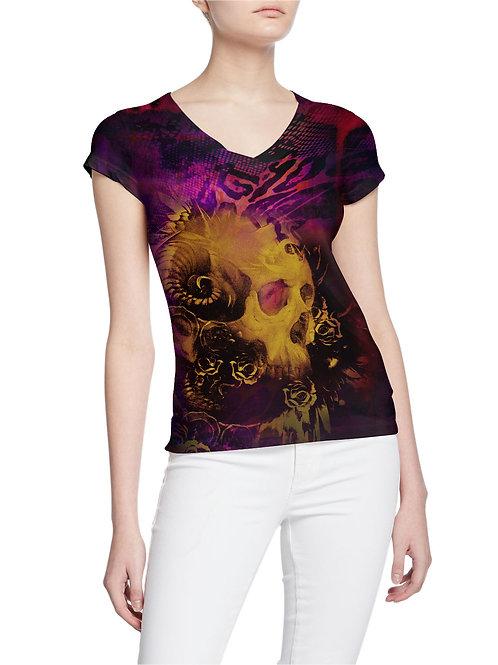 Demon Apache Fire Skull Gold and Animal Print Women T-shirt